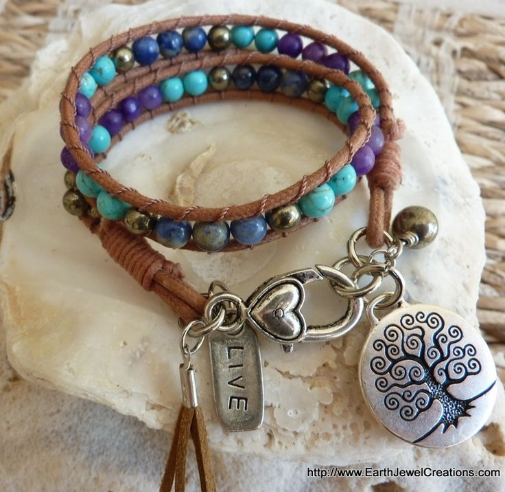 Intuition and Expression Double Wrist Wrap - handmade crystal energy gemstone jewellery Earth Jewel Creations Australia