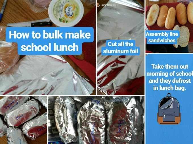 Make and Freeze School Lunches