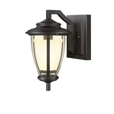 Hampton Bay Stockholm Wall Mount Outdoor Satin Bronze 7 In. At The Home  Depot
