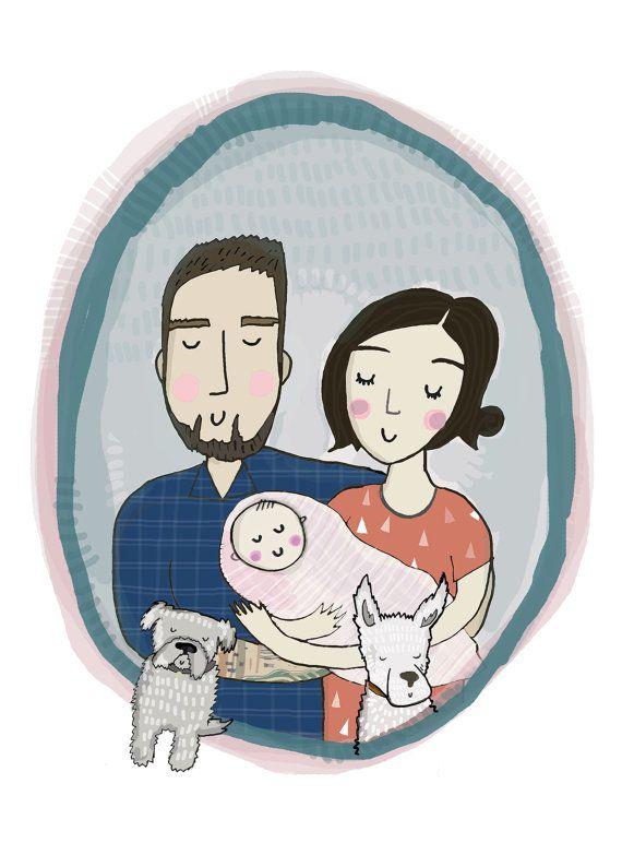 Digital File + A4 Print - Custom Couple or Family Portrait
