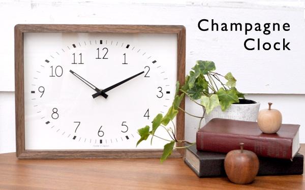 WOOD WALL CLOCK 秒針がない分思った以上に静か。壁掛けはもちろん自立して置くこともできる壁掛け卓上兼用型時計  ■La Luz Inc. (ラ・ルース)■ Champagne Clock シャンパーニュクロック (掛け時計 壁掛け時計 木製 シンプル 卓上 無垢材 公共施設 プラットホーム 学校 ガラス 静か 寝室 リビング時計 インテリア) +ナチュラル●【marathon201305_interior】   商品管理番号8900096 価格5,985円 (税込) 送料別