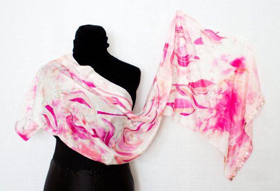 Sciarpa in seta dipinta mano per donna colore bianco rosa