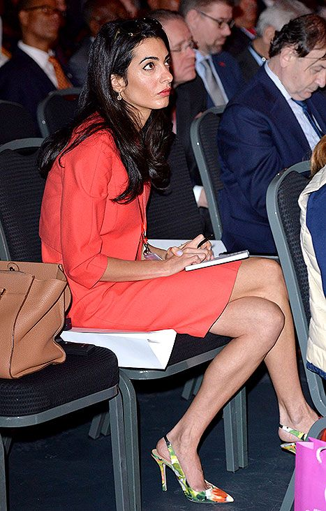 Amal Alamuddin jotted down notes during the plenary session of the Global Summit to End Sexual Violence on Thursday, June 12.