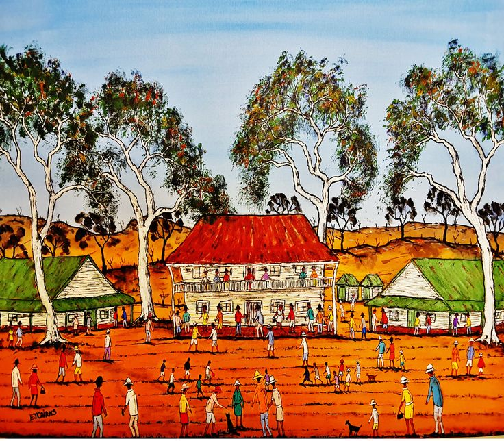 Family Day/outback life/australian outback/australian painting/ejcairns art/australian art/acrylic painting/contemporary painting/dogs/trees