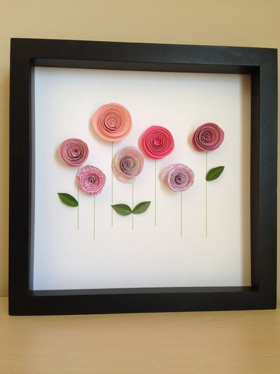Pink Rose Garden 3D Paper Art Customize with your by PaperLine, $35.00