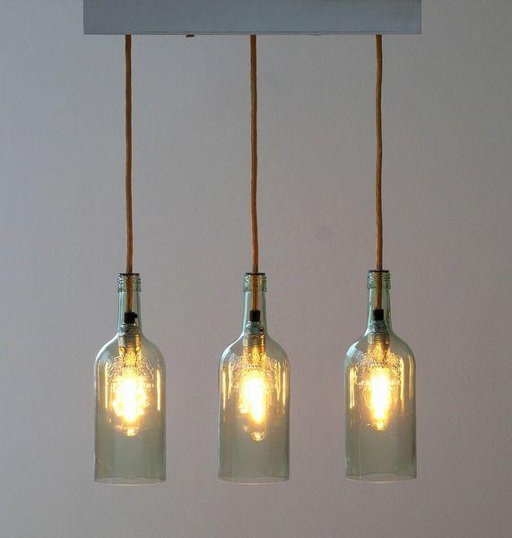 """Vintage Flaschenlampe Hängelampe """"Lampada tre"""" von Uniikat Shop - Recycling mit Stil auf DaWanda.com"""