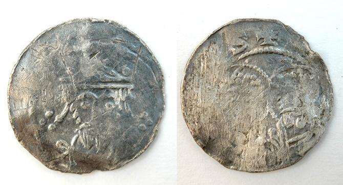 Tysk sølvmynt fra 1000-tallet. Funnet av Rygene detektorklubb på oppdrag for Kongsgårdprosjektet.