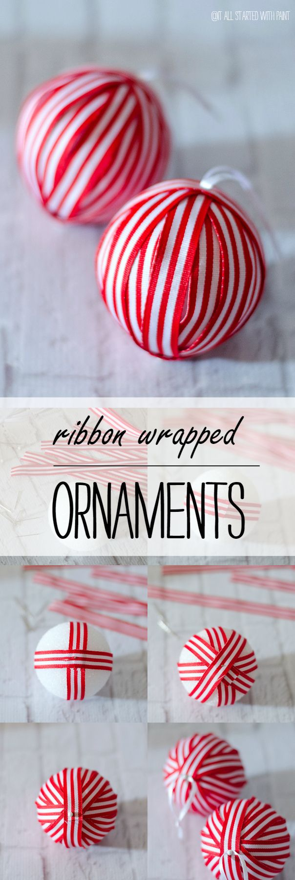 Christmas Craft Ideas: Handmade Red & White Ribbon Ornaments DIY Project - Great project to do with the kids!