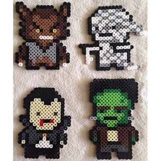 Classic horror characters perler beads by allthecutiecrafts
