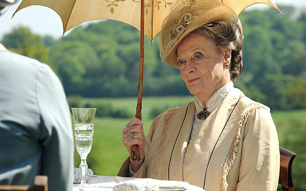The Dowager Duchess shades herself on yet another gloriously sunny day at Downton Abbey Downton Abbey.    ..According to Dame Maggie Smith, there is one other element that has made audiences take the series to its hearts: it almost never rains. .. ..June 10. 2015..