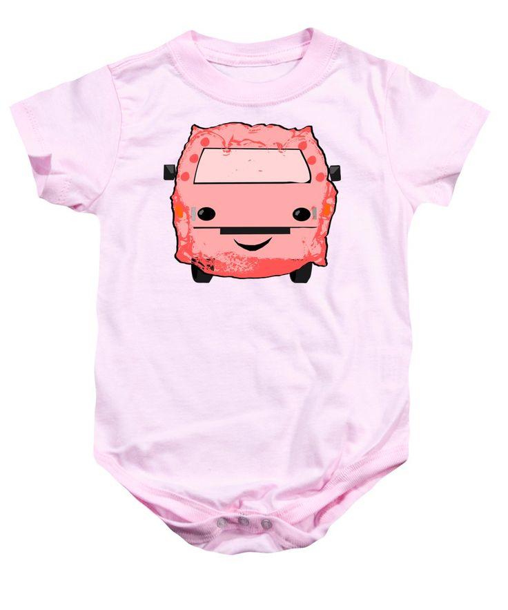 Pink Baby Onesie featuring the mixed media Poopmobile In Pink by Sverre Andreas Fekjan