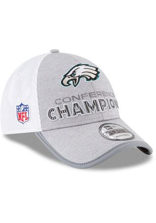 New Era Philadelphia Eagles Mens Grey 2018 NFC Champion LR 9FORTY  Adjustable Hat  79878a789