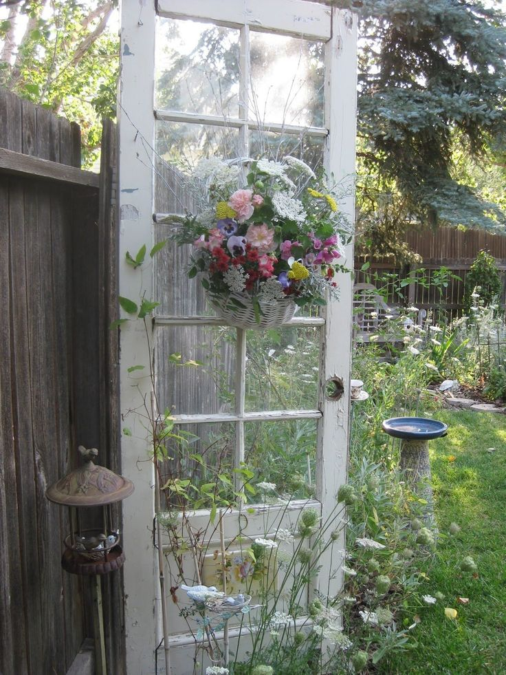 outdoor shabby chic creative uses for old doors windows pintere. Black Bedroom Furniture Sets. Home Design Ideas