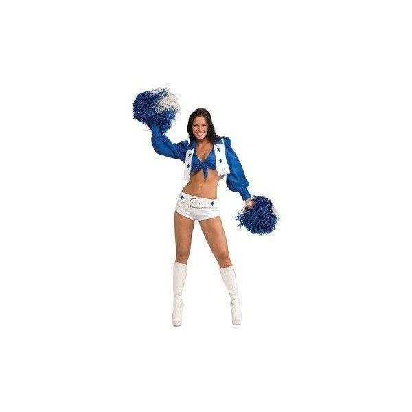 Dallas Cowboys Cheerleader Costume ($55) ❤ liked on Polyvore featuring costumes, cheerleader halloween costume, dallas cowboys cheerleader halloween costume, white halloween costumes, dallas cowboys cheerleader costume and white costumes