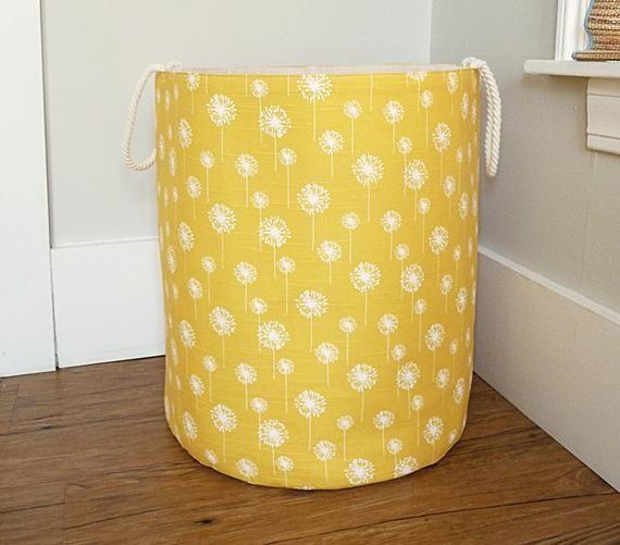 Xl Fabric Storage Laundry Hamper Canvas Basket Yellow Dandelion Fabric Toy Nursery Organizer Storage Hamper Choose Size Fabric Storage Bins Fabric Storage Storage Bins