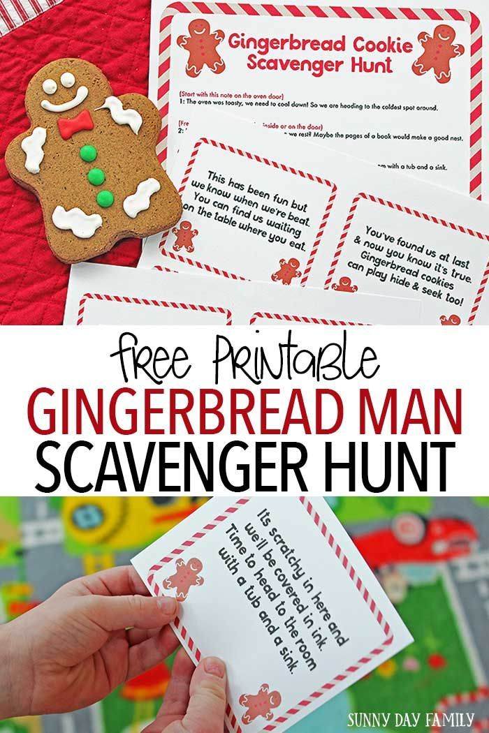 Free Printable Gingerbread Man Scavenger Hunt With Images Fun