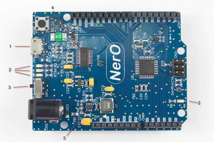 Nero - Arduino clone 1A.  Here's an interesting one. FTDI Chip is using Kickstarter to fund an open source reference design for an Arduino UNO compatible board. The NerO is based on
