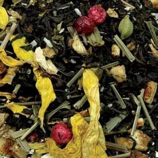 Al gusto di ananas e limone. Ingredienti: miscela di Tè Nero di Ceylon, India e Cina, citronella, pezzi di ananas candito (ananas, zucchero), di mela, bucce d'arancia, pezzi di zenzero, cardamomo, cocco tritato, ribes rosso, fiori di girasole, aromi.