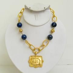 Gold Bee on Chain & General Lapis Necklace  Susan Shaw Necklace From Lauren London  Lauren B Montana