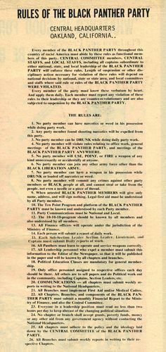 RULES OF THE BLACK PANTHER PARTY  |  Central Headquarters, Oakland, California.