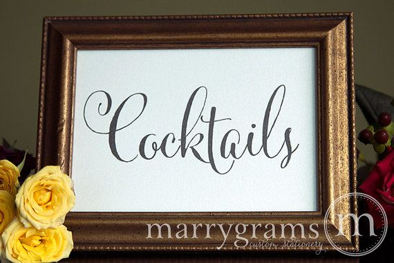 Cocktails Wedding Drinks Sign for Open Bar - Wedding Reception Seating Signage - Mixed Drink Sign- Matching Numbers Available SS07