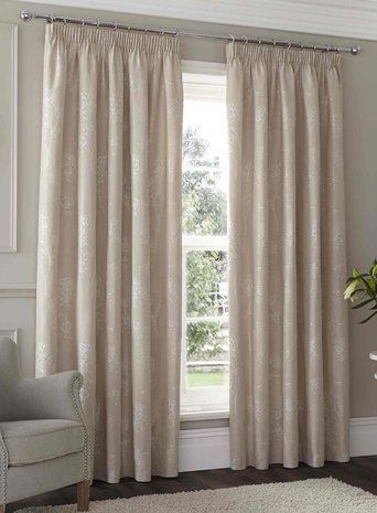 Natural Sandhurst Floral Pencil Pleat Curtains