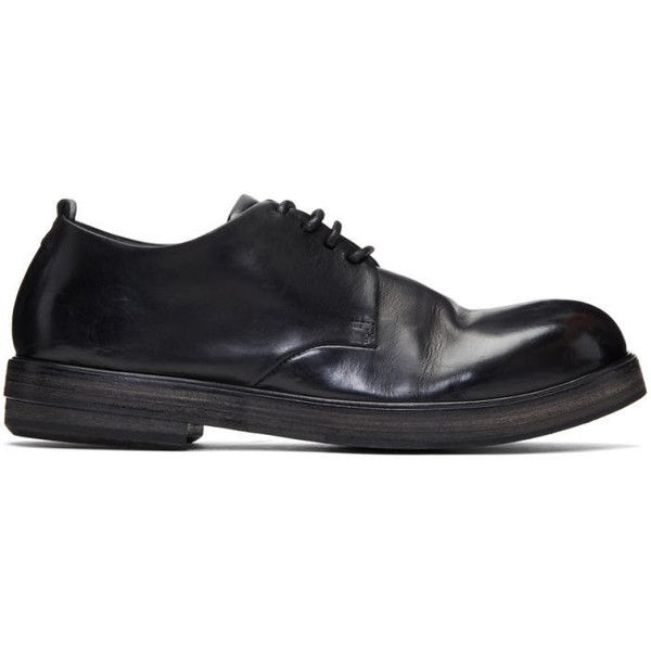 Marsèll Black Zucca Zeppa Derbys (1,060 CAD) ❤ liked on Polyvore featuring men's fashion, men's shoes, men's oxfords, black, mens black derby shoes, mens black shoes, mens leather derby shoes, mens leather shoes and mens derby shoes