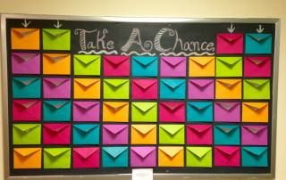 This page has LOTS of ideas for bulletin boards for a college campus.