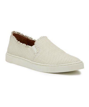 Another great find on #zulily! White Ivy Fray Woven Leather Slip-On Sneaker