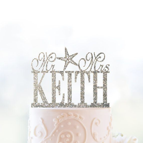 Last Name Wedding Themes: Glitter Beach Theme Last Name With Starfish By