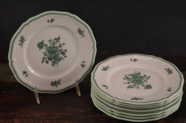 8er-Set Rosenthal, Chippendale Green Bloom Salat- / Dessertteller, D ...