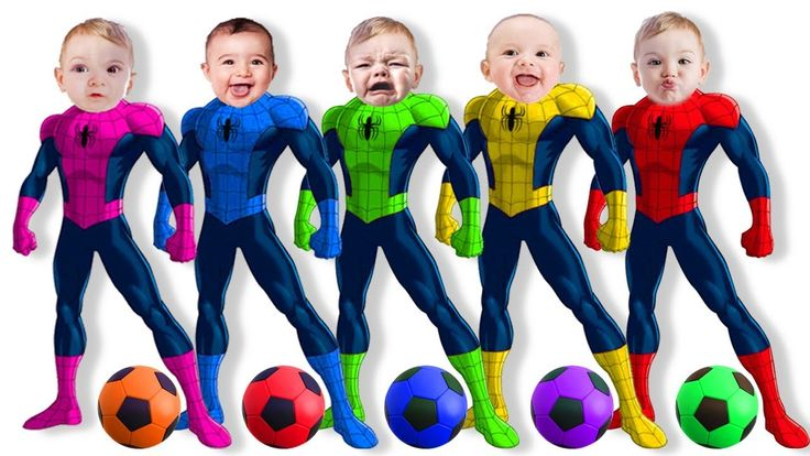 Learn Colors with SuperHeroes Bad Baby Spiderman & Soccer Ball Finger Fa...