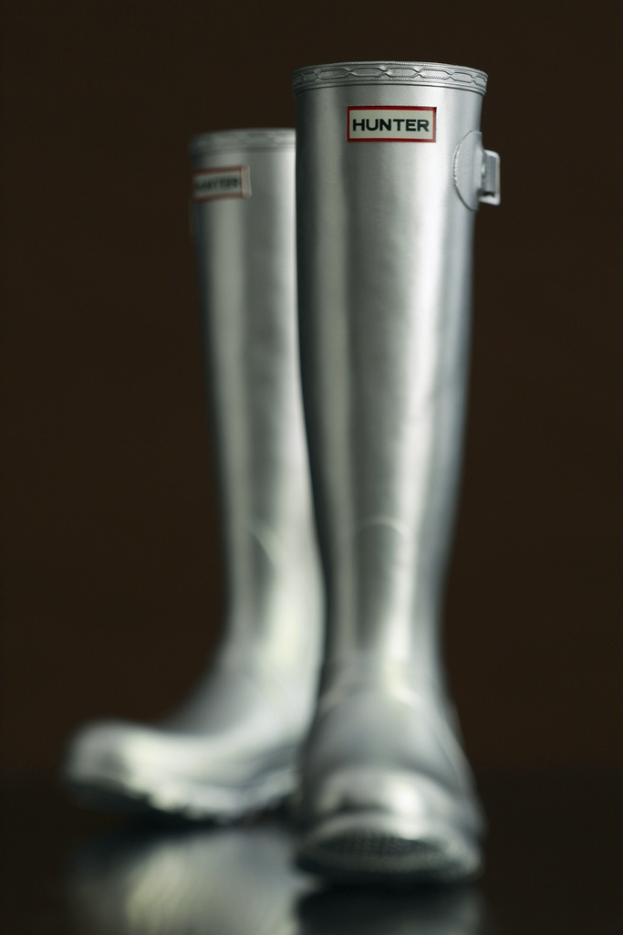 Silver. Hunter boots.
