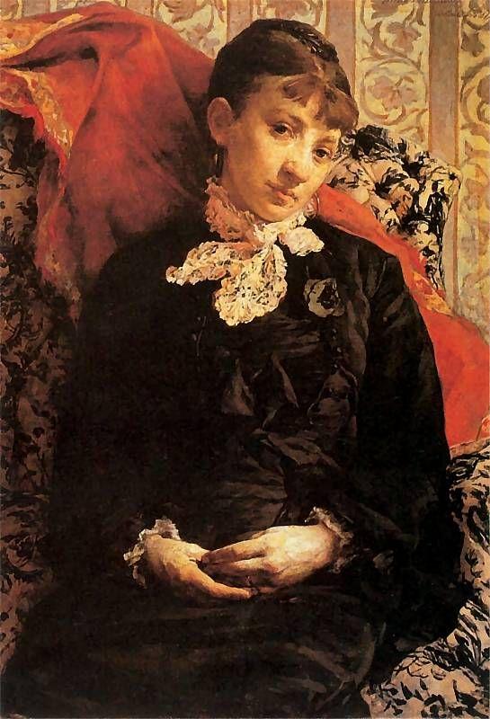 Witold Pruszkowski  - Portret Stefanii Fedorowiczowej na otomanie, 1879