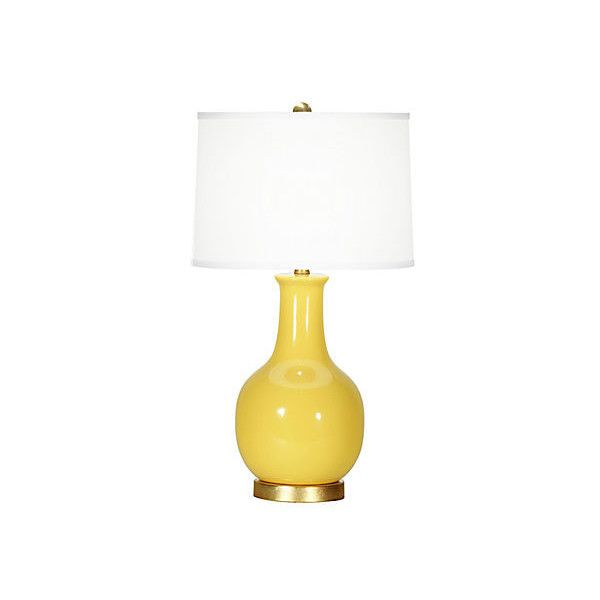 Madison Table Lamp Yellow Table Lamps ($219) ❤ liked on Polyvore featuring home, lighting, table lamps, band lighting, ceramic lamps, yellow ceramic table lamp, ceramic table lamps and handmade lights