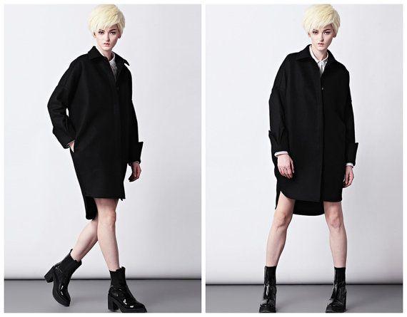 Black oversize wool coat for women from BWG studios.