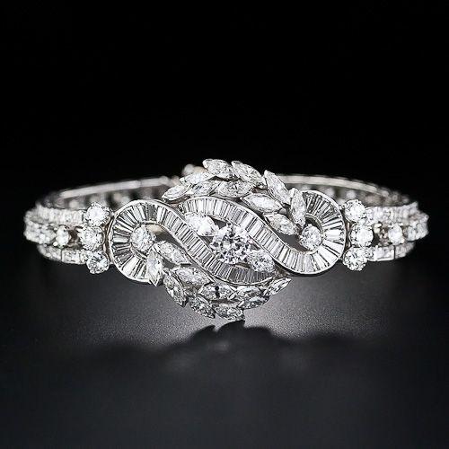 Mid-Century Platinum and Diamond Bracelet - 40-1-4408 - Lang Antiques