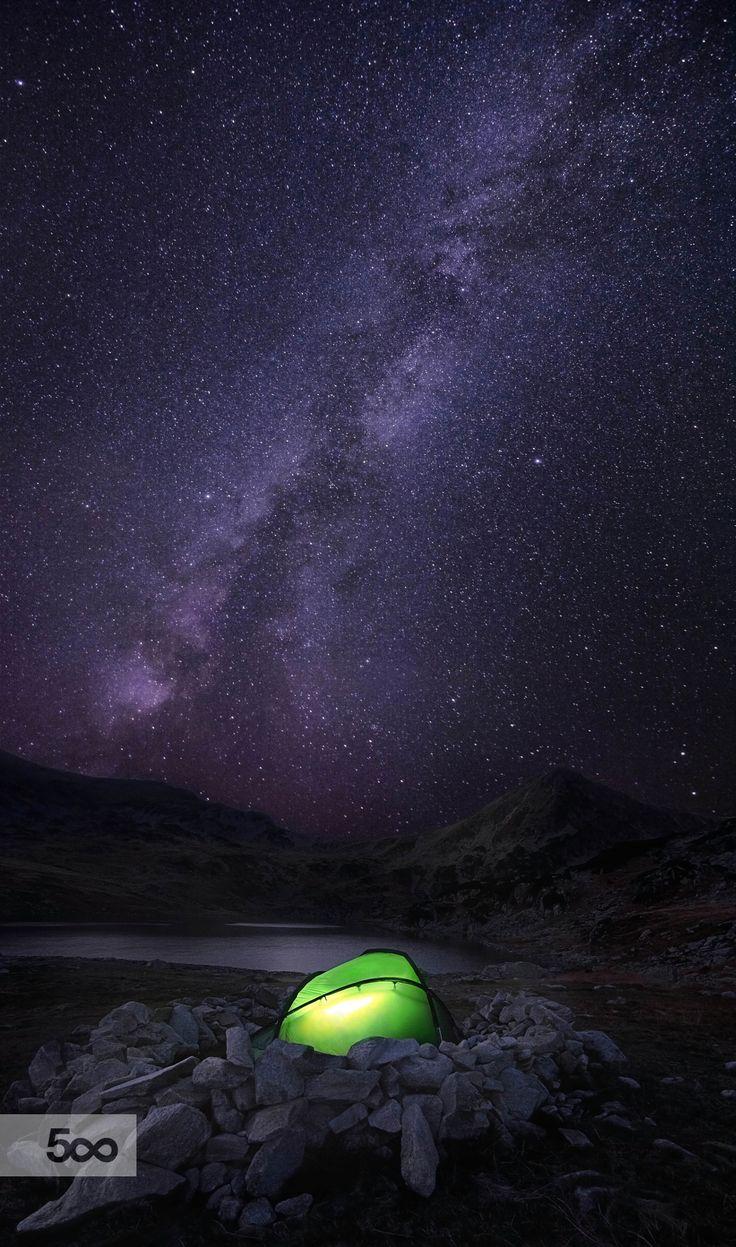 #Bucura #Romania #camping #glow #lake #light #milky way #national park #night #retezat #sky #stars #tent #trail