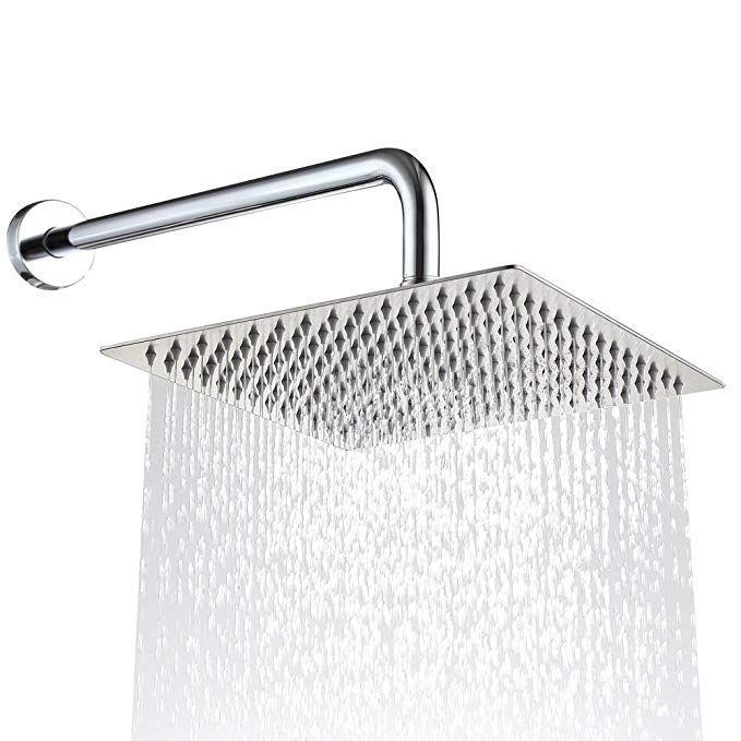Derpras Square Rain Shower Head 304 Stainless Steel Ultra Thin