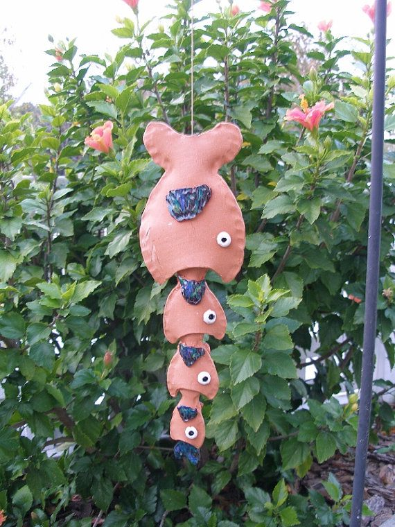 Big Fish windchime pottery yard art handmade ceramic ornament wind chime outdoor