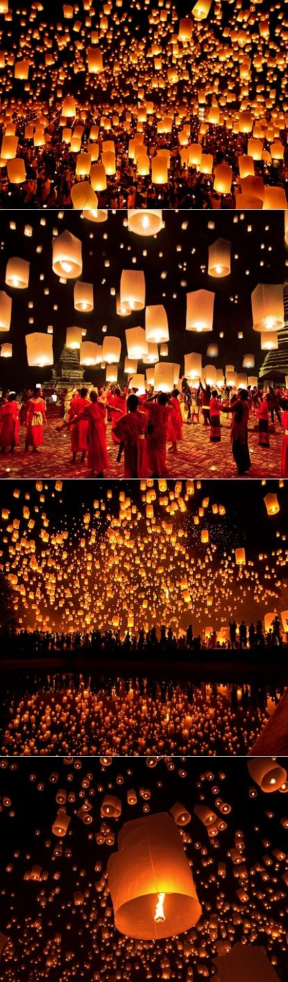 @bkaftan // Lantern festival in Chiang Mai, Thailand. Check out three cities you must visit in Thailand at TheCultureTrip.com. Click on the image for more info! (http://diana212m.blogspot.com/2013/08/lantern-festival-in-thailand.html)