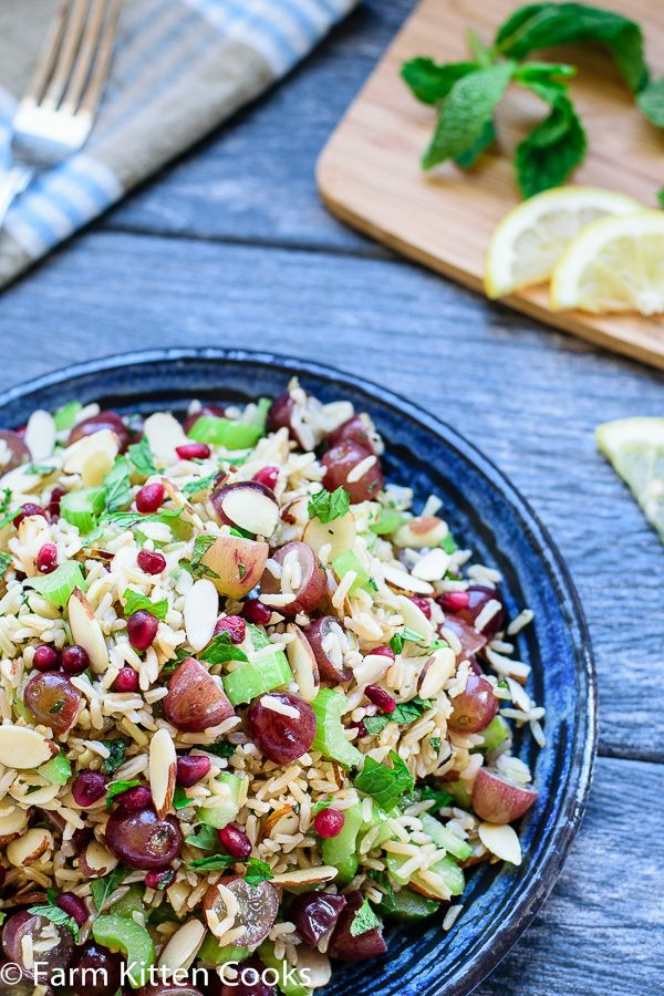 Grape and Brown Rice Basmati Salad with Almonds and Mint