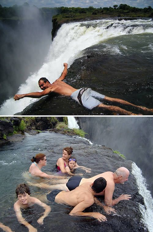 Swimming in Devil's Pool at Victoria Falls in Zambia-Zimbabwe Africa.