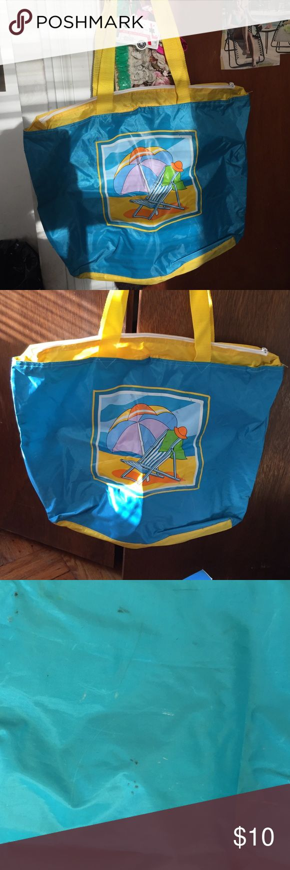 Beach bag.- cruise 🚢 Adorable beach bag w / a print w cute print w a beach chair / umbrella / towel / hat - fun - fun - so roomy good enough to fit everything in there - tons of room -used - see pics - some spots on bag due to wear.🌞☀️👙👙👣👣👒👒👡👡🕶🕶🏊🏄🚣🚣🎣🏖🏝🏖🏖🏖🏝🏝🏝🏝🏖🏖🏖🏖🏜🏜🏜🎏 Bags Totes