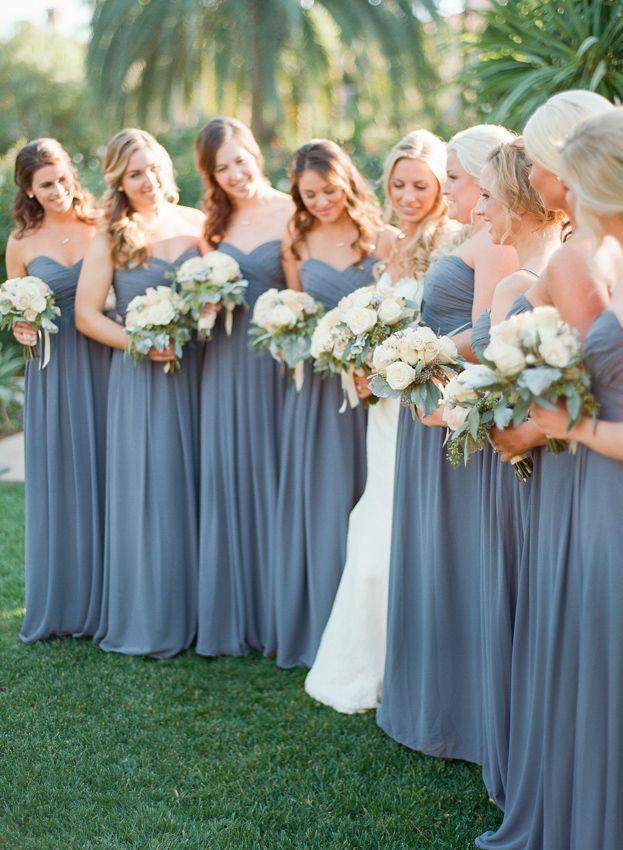 Slate blue bridesmaid dresses. #bridesmaiddresses leonardofilms.ca