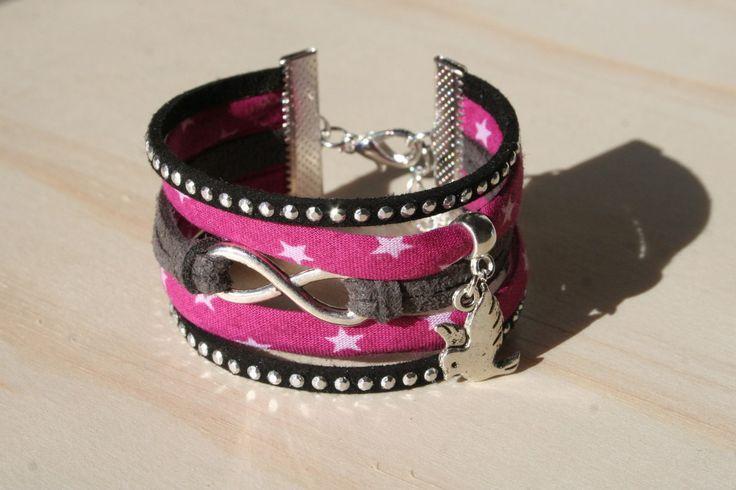 Bracelet manchette ENFANT - Tons fuchsia et noir - girly et strass - comme maman! : Bijoux enfants par boisdesoluthe