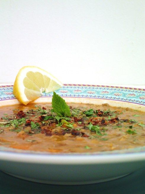 Turkish Lentil soup with mint & sumac our friend munevar used to make this for us...one of the only uses of mint that was sooo delicious