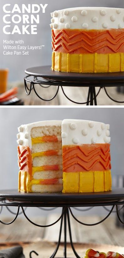 Create this cool candy corn 5-layer cake for your Halloween parties this year!   Get the project from Wilton Cakes on Joann.com   Wilton Creations   Cakes   Halloween cakes