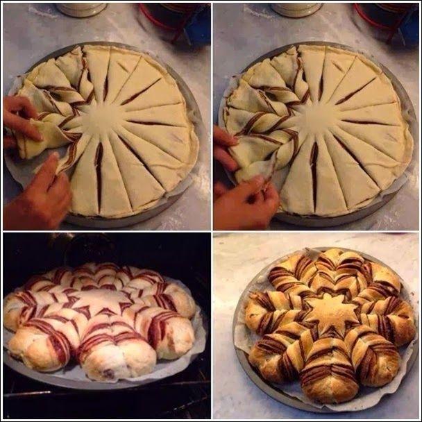 receita como fazer pão estrela flor trança nutella