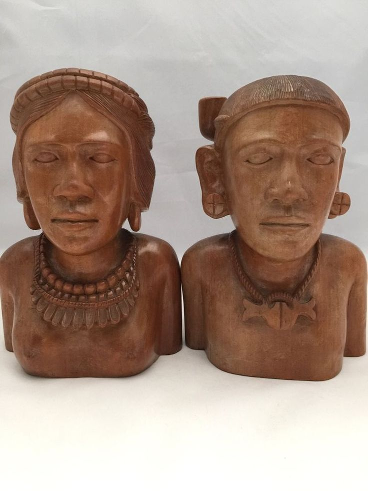 Vintage wood carved man woman bust african south american
